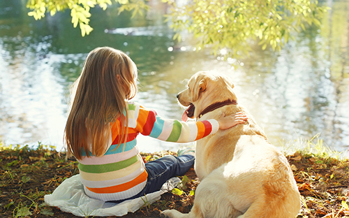 Woman sitting with Labrador next to lake